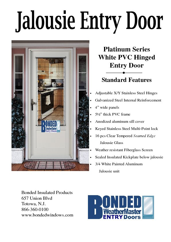 Replacement jalousie entry door for Entry door with built in screen